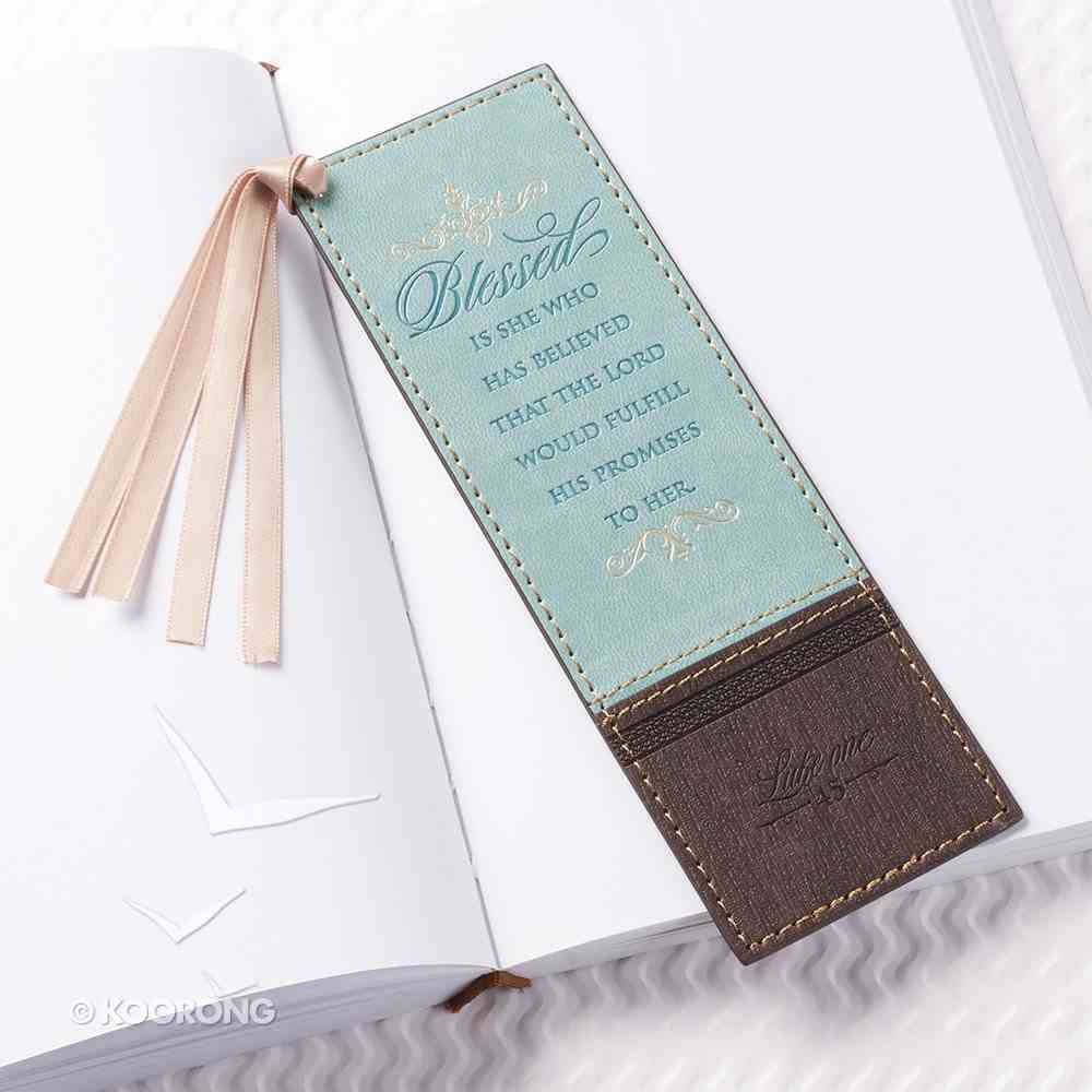 Bookmark With Tassel: Blessed Turquoise/Brown (Luke 1:45) Imitation Leather