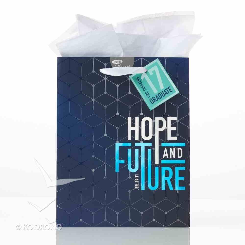 Gift Bag Medium: Graduation, Hope & Future Navy/Light Blue (Jer 29:11) Stationery