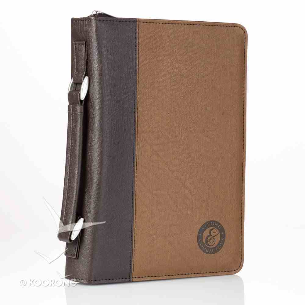 Bible Cover Strong & Courageous Large Brown/Dark Brown Bible Cover