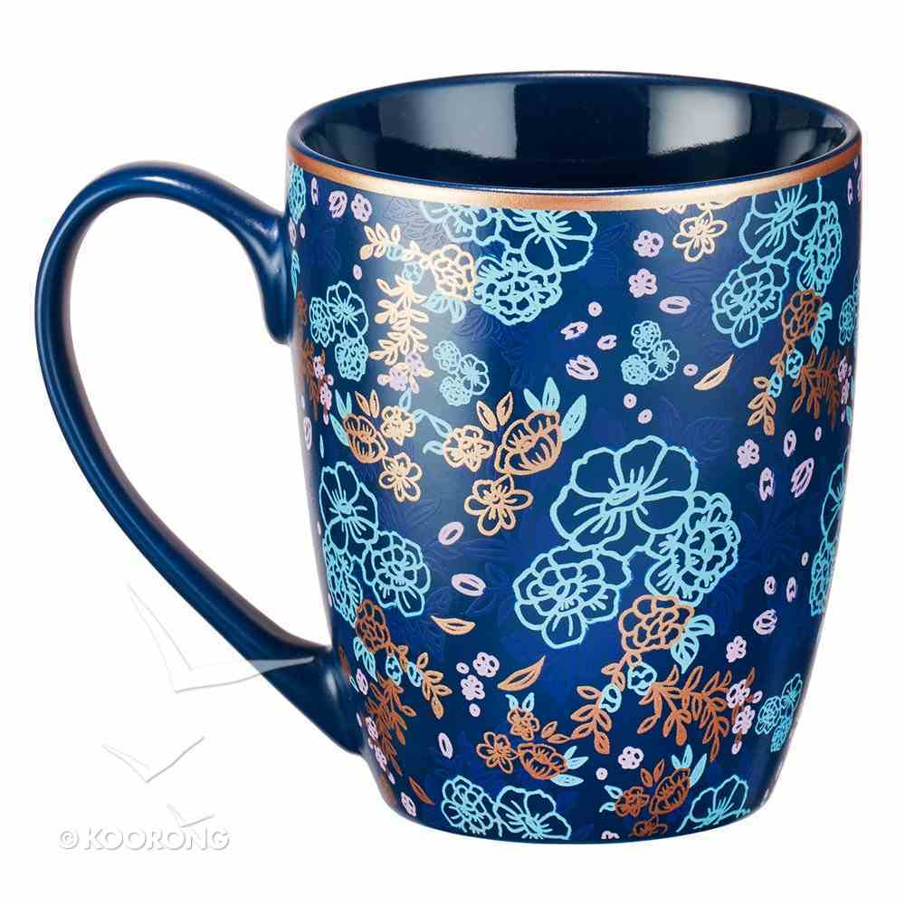 Ceramic Mug: May He Give You the Desire of Your Heart (Psalm 20:4) Navy/Floral (355ml) Homeware