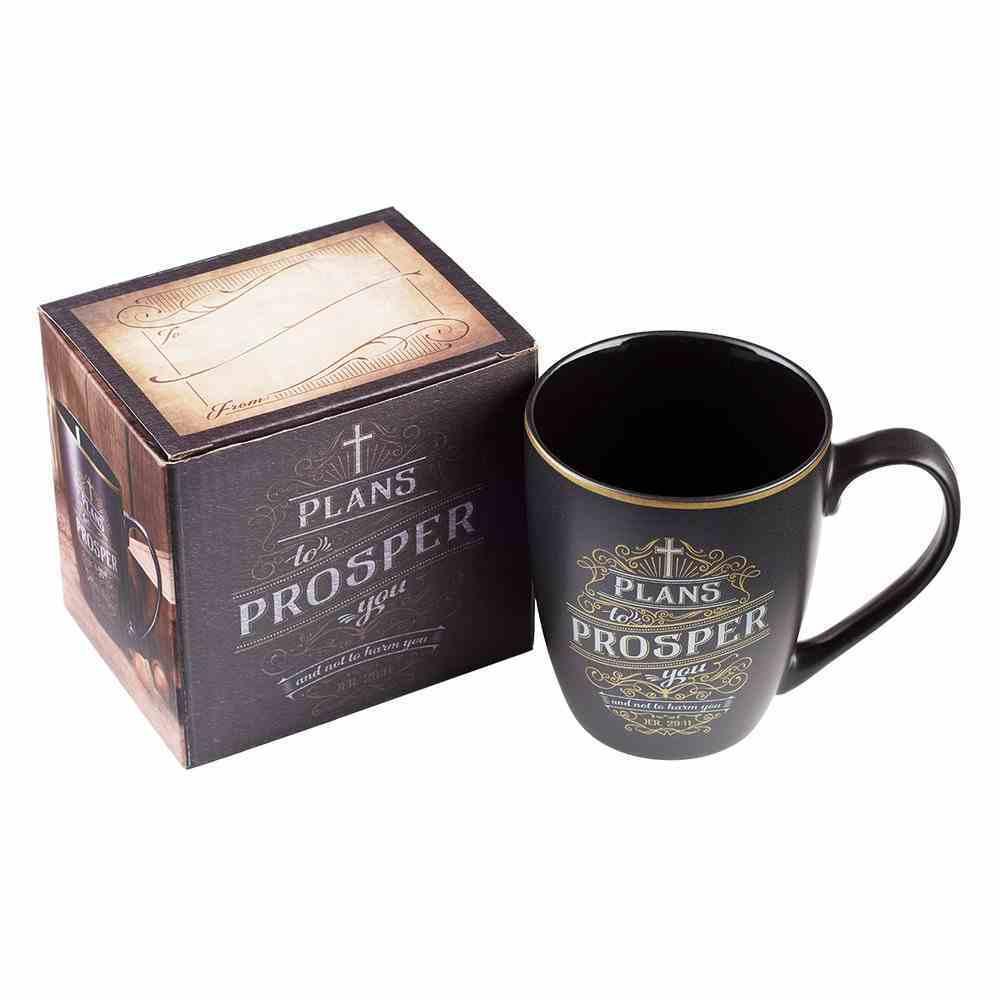 Ceramic Mug: Plans to Prosper (Black/White/Gold) (355ml) Homeware