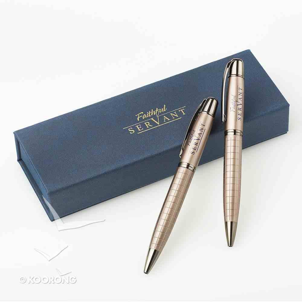 Ballpoint Pen Set in Gift Box: Faithful Servant (Navy/brown) Stationery