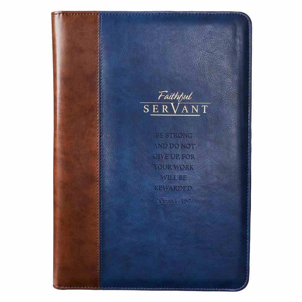 Premium Portfolio: Faithful Servant (Navy/brown) Stationery