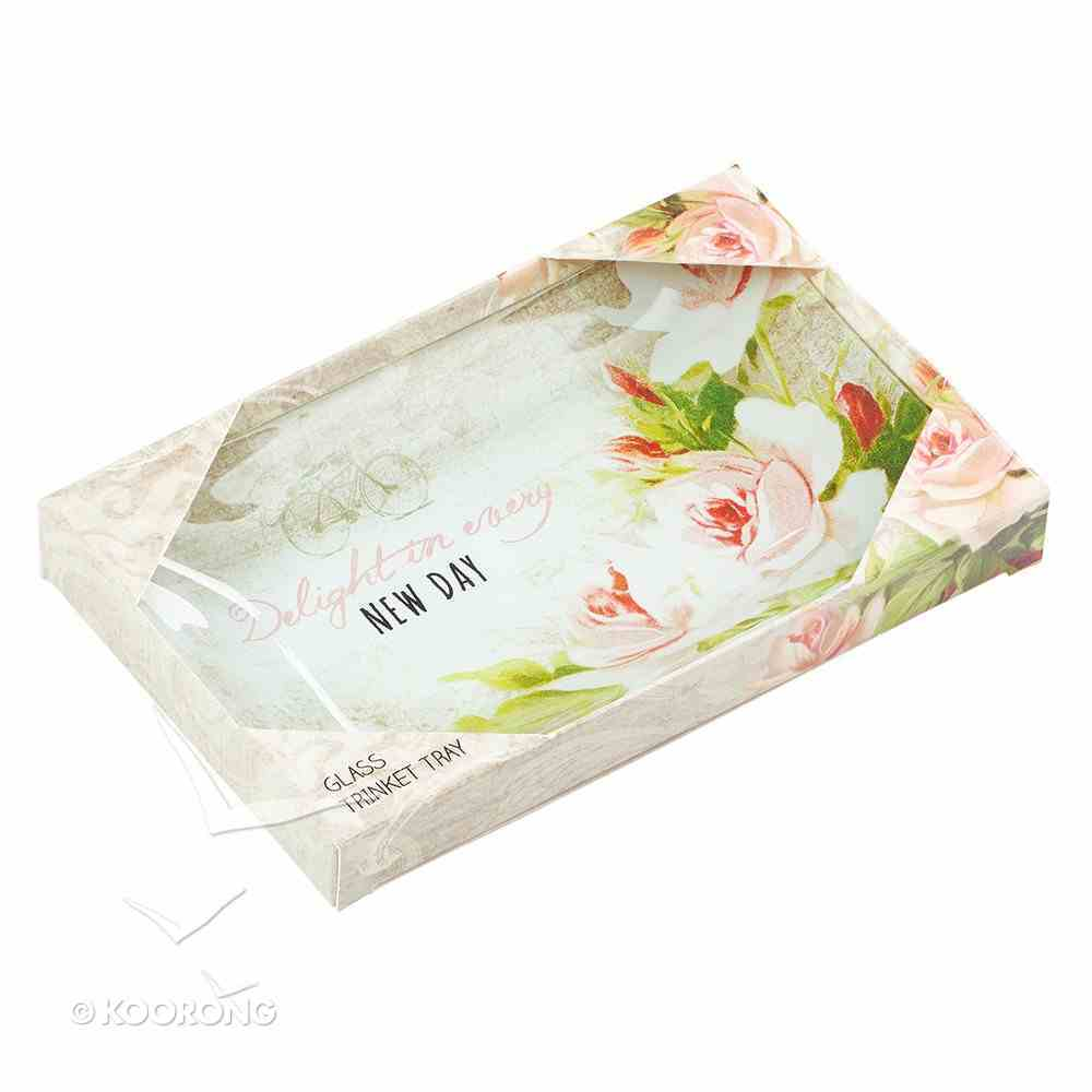 Small Glass Trinket Tray: Delight in Every New Day, Floral Homeware