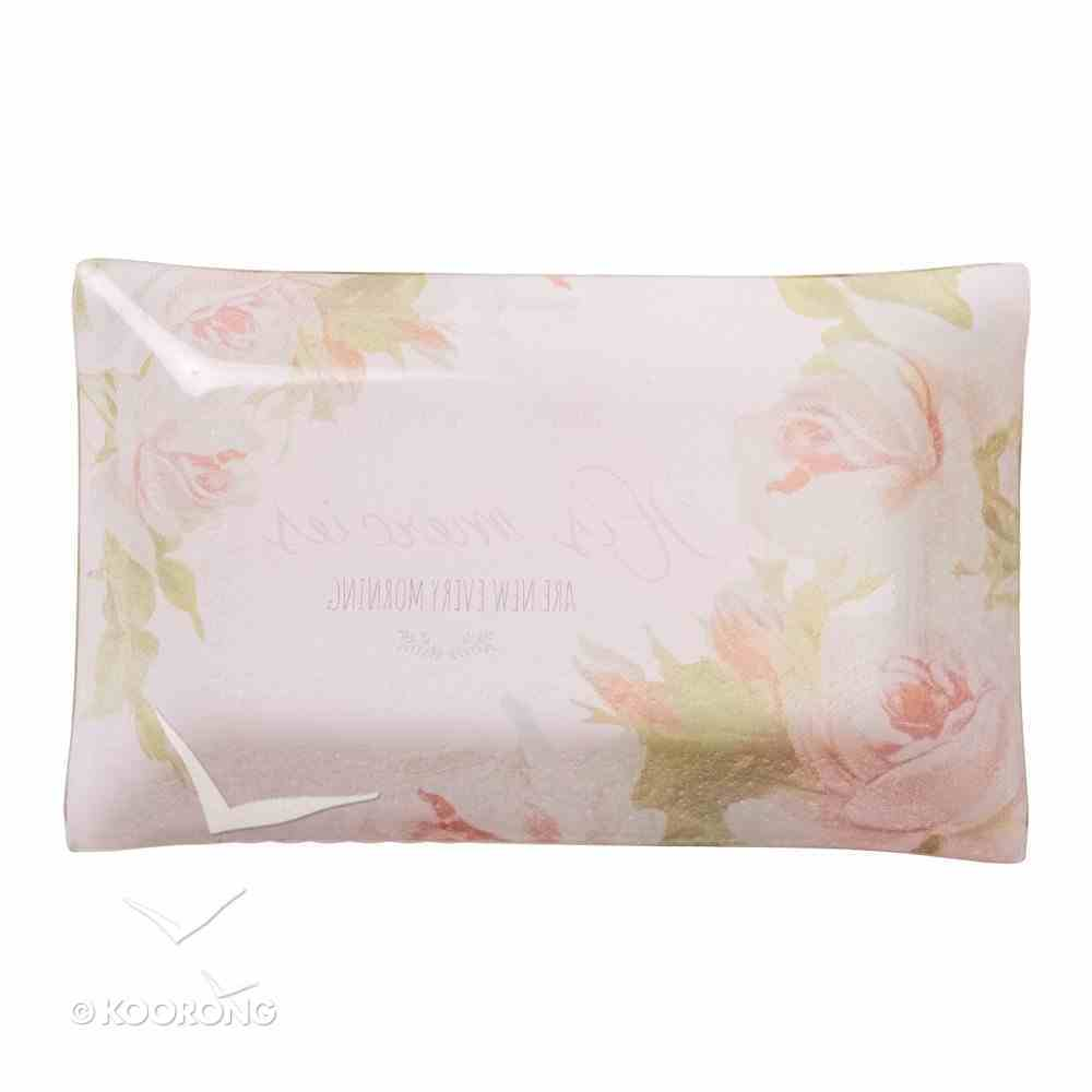 Small Glass Trinket Tray: His Mercies Are New Every Morning, Floral Homeware
