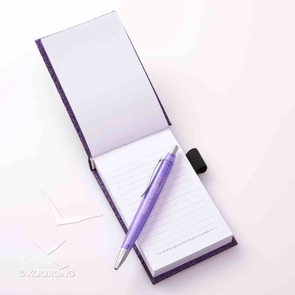 Pocket Notepad With Pen: I Can Do All Things, Phil 4:13 (Purple/floral) Imitation Leather