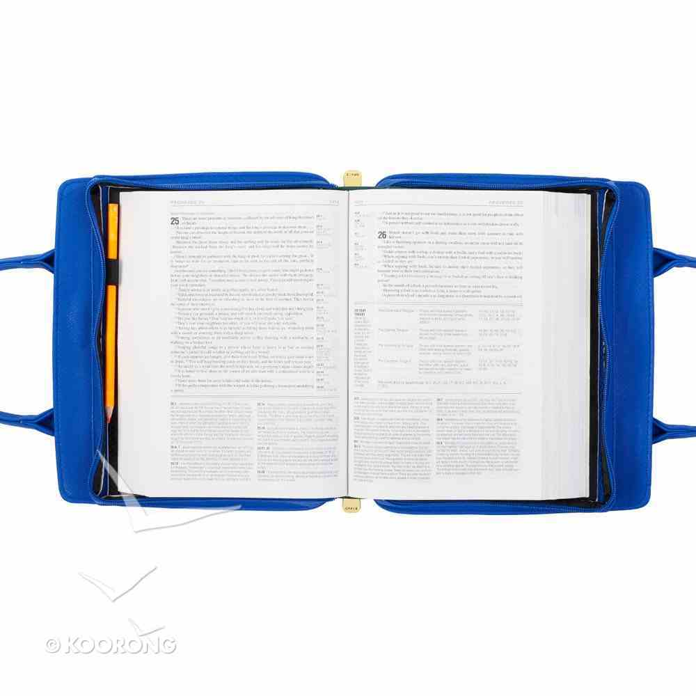 Bible Cover Large Purse-Style Amazing Grace in Blue Bible Cover