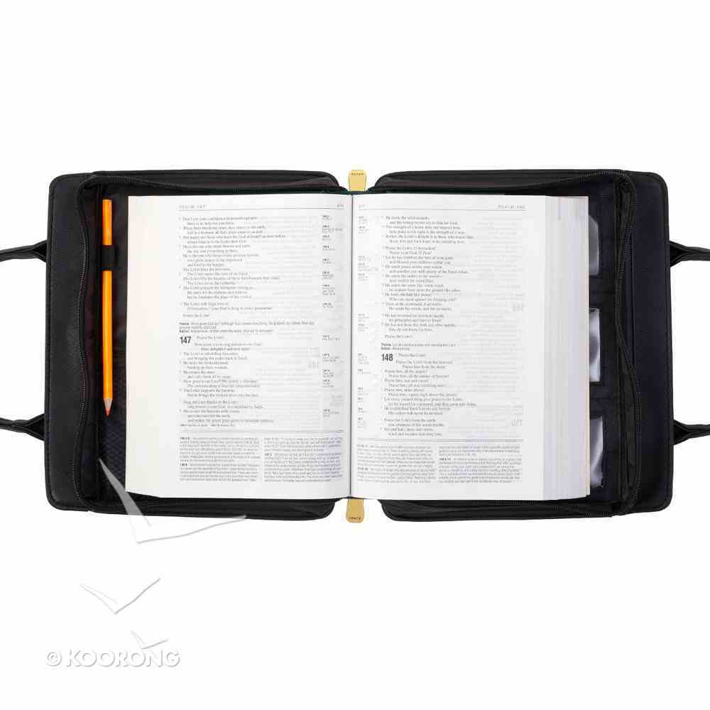 Bible Cover Large Purse-Style Blessed in Black Bible Cover