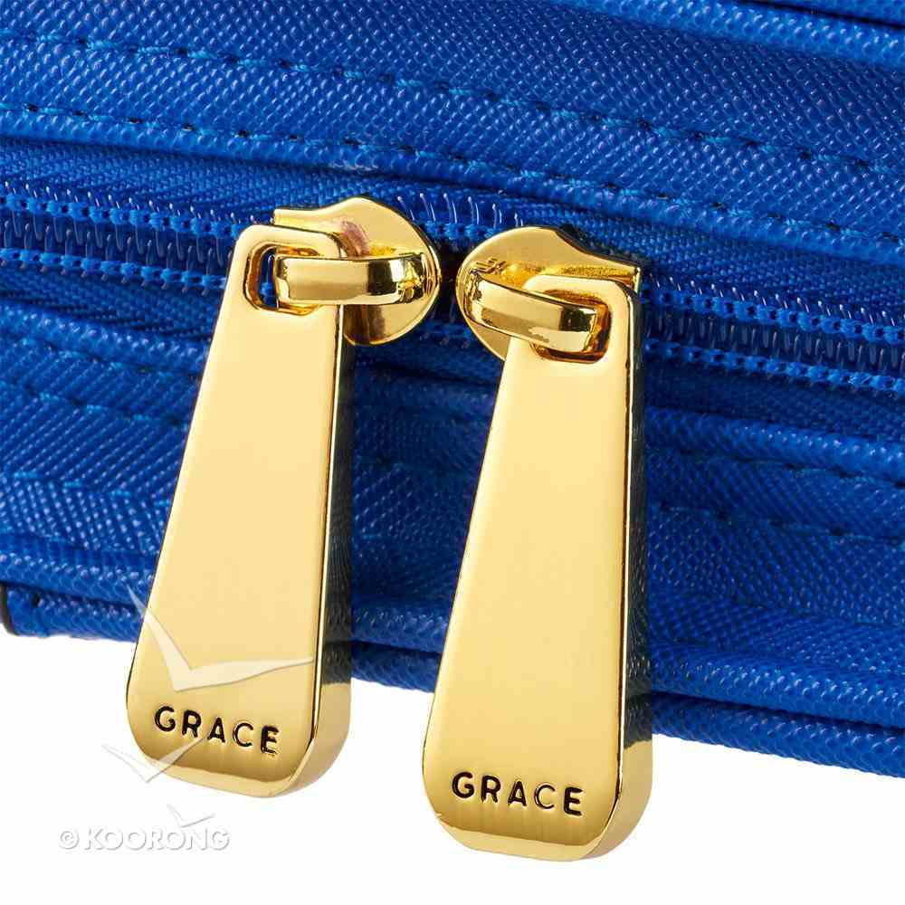Bible Cover Medium Purse-Style Amazing Grace in Blue Bible Cover