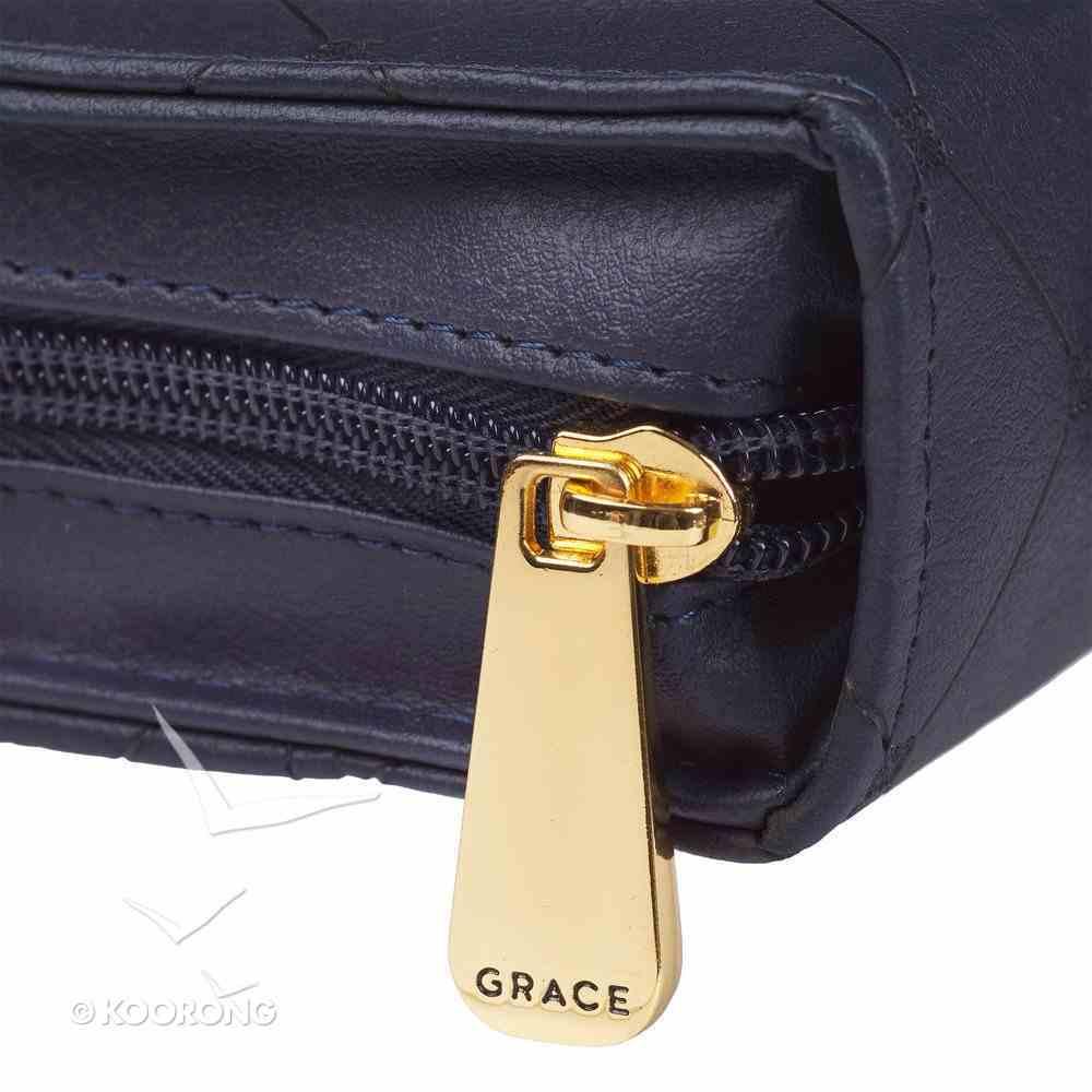 Bible Cover Medium Cross Badge Grace Zipper Blue Luxleather Bible Cover