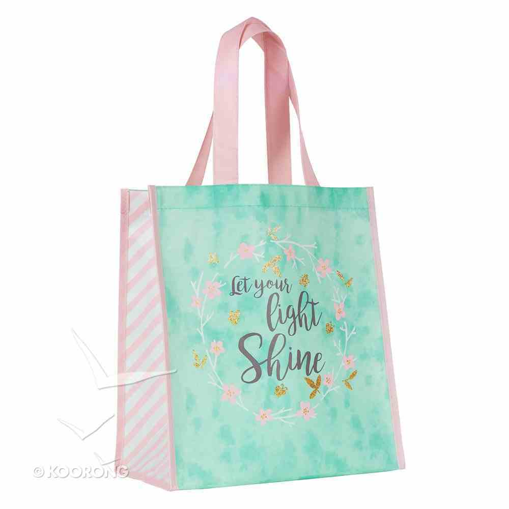 Non-Woven Tote Bag: Let Your Light Shine (Turquoise/flower Wreath) Soft Goods