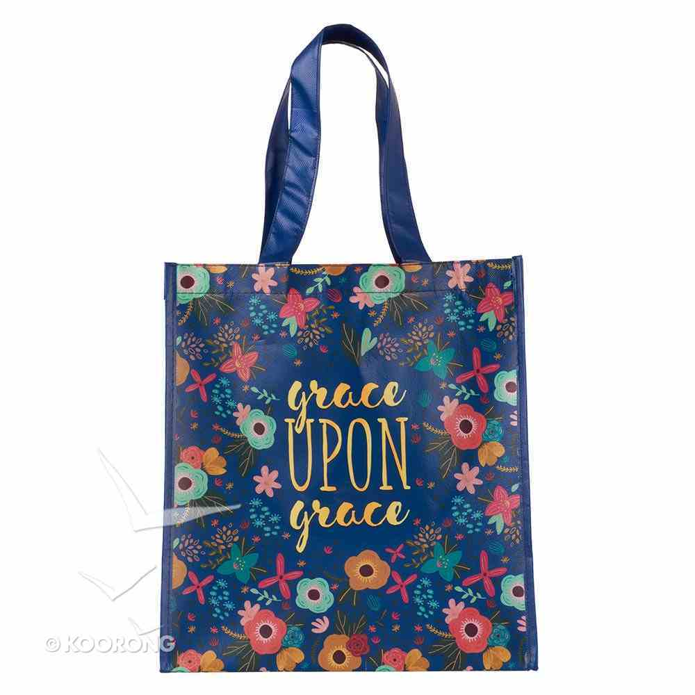 Non-Woven Tote Bag: Grace Upon Grace (Navy/floral) Soft Goods