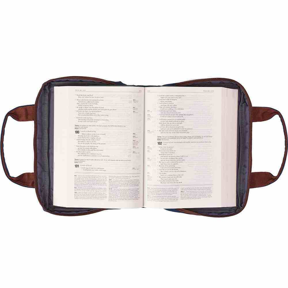 Bible Cover Metal Badge Trust in the Lord Navy Large Fashion Bible Cover