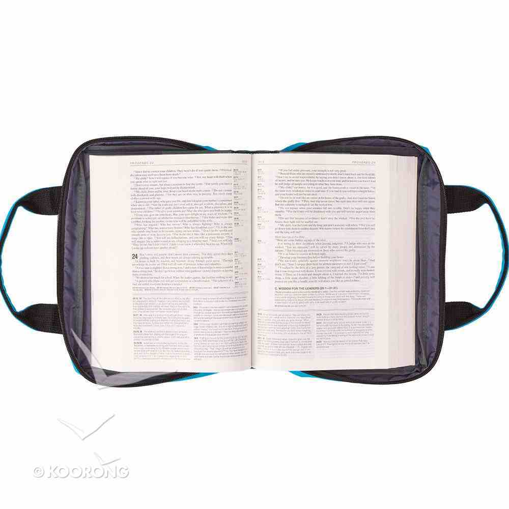 Bible Cover Metal Badge Amazing Grace Blue Large Fashion Bible Cover