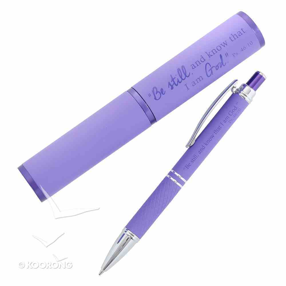 Stylish Pen/Case Gift Set: Be Still and Know That I Am God, Purple Stationery