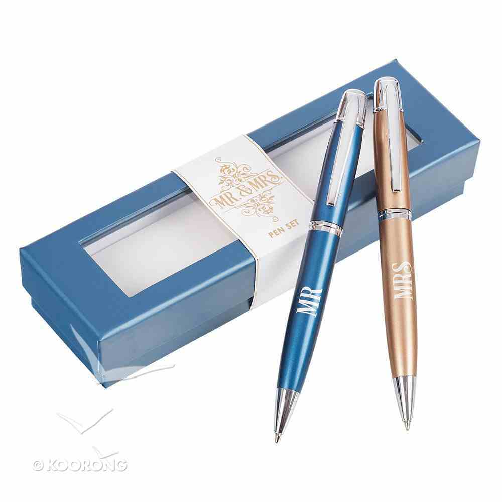 Pen Set: Mr & Mrs Gold & Blue Stationery