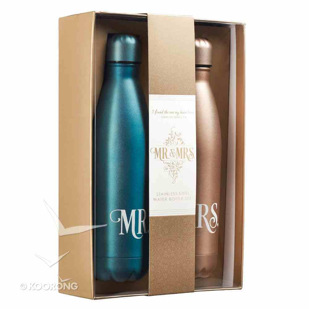 Water Bottle 500ml Stainless Steel: Mr & Mrs Silver & Gold (Set Of 2) Homeware