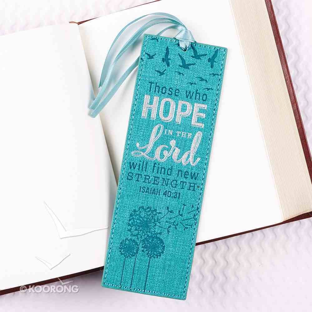 Bookmark With Tassel: Those Who Hope in the Lord, Will Find New Strength, Blue/Silver (Isaiah 40:31) Imitation Leather