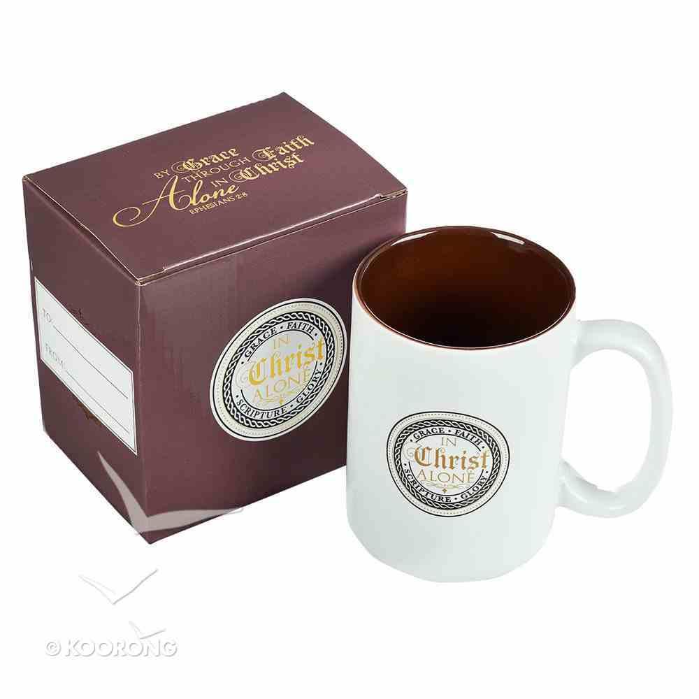 Ceramic Mug: In Christ Alone, White/Brown Homeware