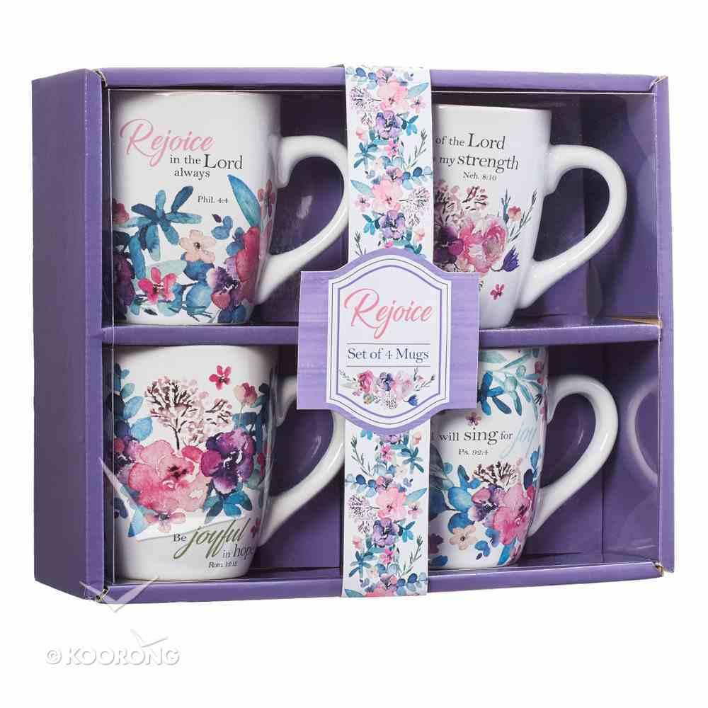Ceramic Mug: Rejoice Collection Floral, Sold in Set Only! (Set Of 4) Homeware