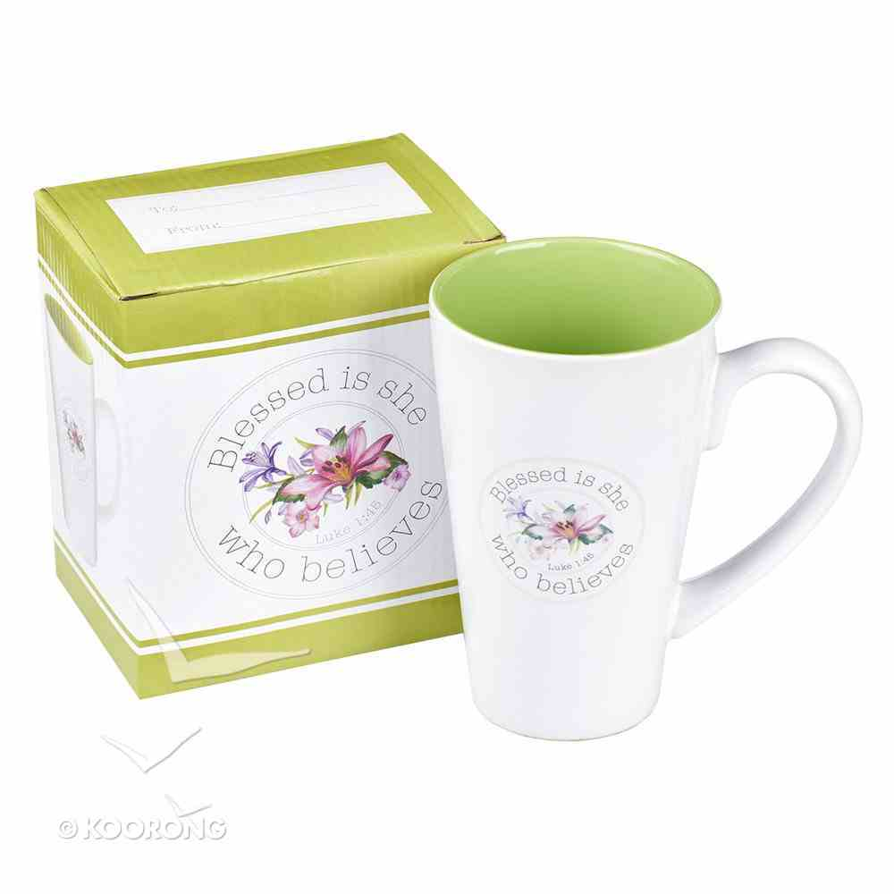 Ceramic Mug: Blessed is She Who Believes, White/Green/Floral Blessings From Above Collection Homeware