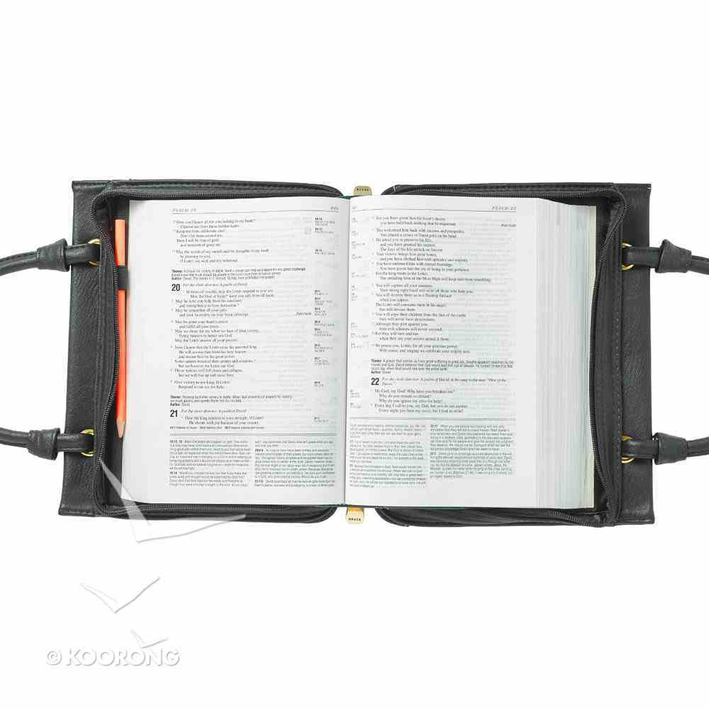 Bible Cover Medium: Amazing Grace Fashion Cover With Handles Black Bible Cover