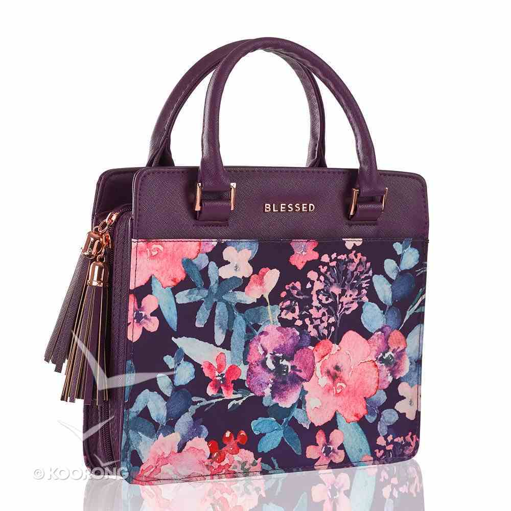 Bible Cover Blessed Large Fashion Floral With Handles Purple Bible Cover
