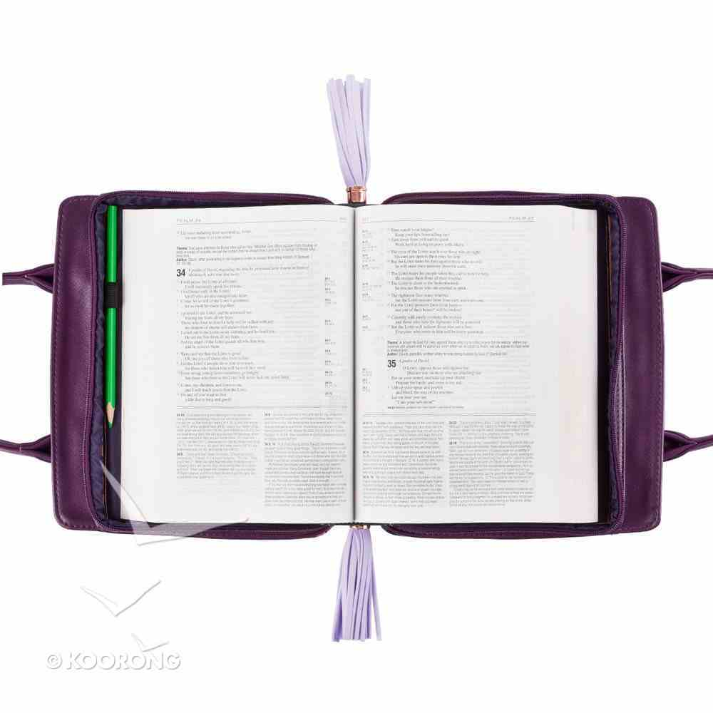 Bible Cover Medium Blessed Purple With Handles Bible Cover