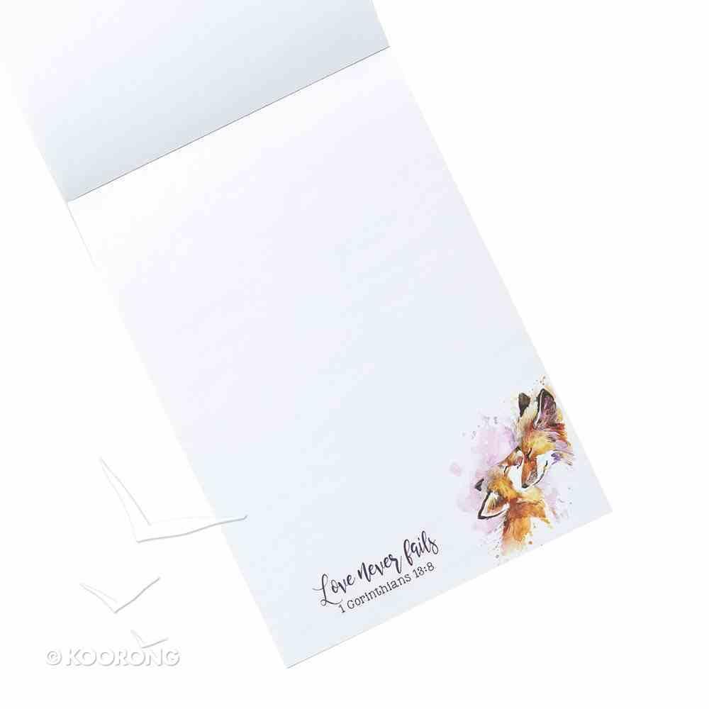 Notepad: Love Never Fails, (1 Cor 13:8) (Mummy & Baby Fox) Stationery