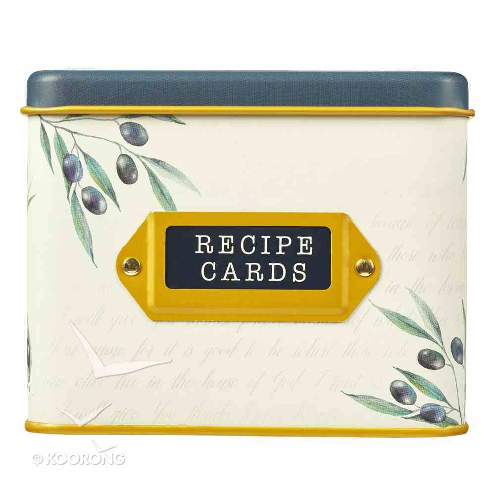 Recipe Cards in Tin Box: Thankful, Grateful, Blessed, Blue Olive Branch Box