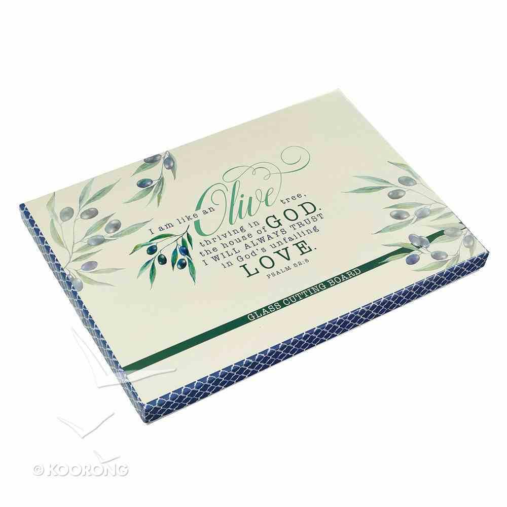 Medium Glass Cutting Board: I Am Like An Olive Tree....Light/Dark Blue Olive Branch Homeware