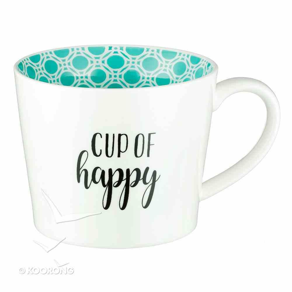 Ceramic Mug: Cup of Happy, Blue/White Homeware
