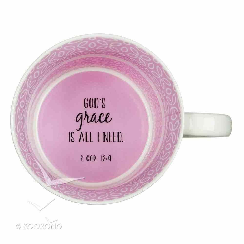 Ceramic Mug: Cup of Grace, Pink/White Homeware