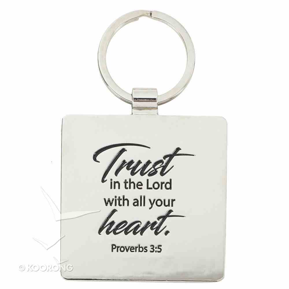 Metal Keyring: Trust, Black - Trust in the Lord With All Your Heart Jewellery