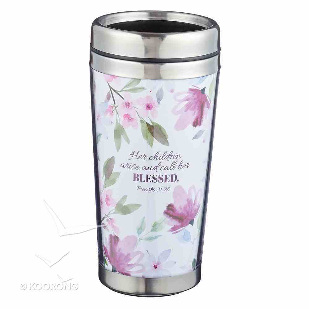 Polymer Mug With Design Insert: Best Mom in the World, Floral, Stainless Steel Lid Homeware