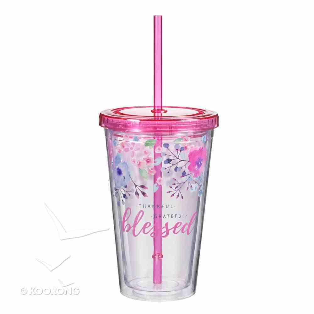 Plastic 480ml Tumbler With Lid: Blessed.....Pink Lid Homeware