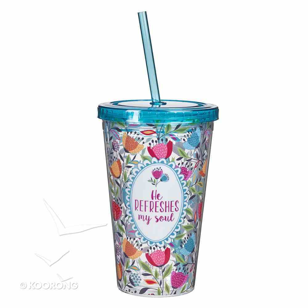 Plastic 480ml Tumbler With Lid: He Refreshes My Soul....Bright Blue Lid Homeware