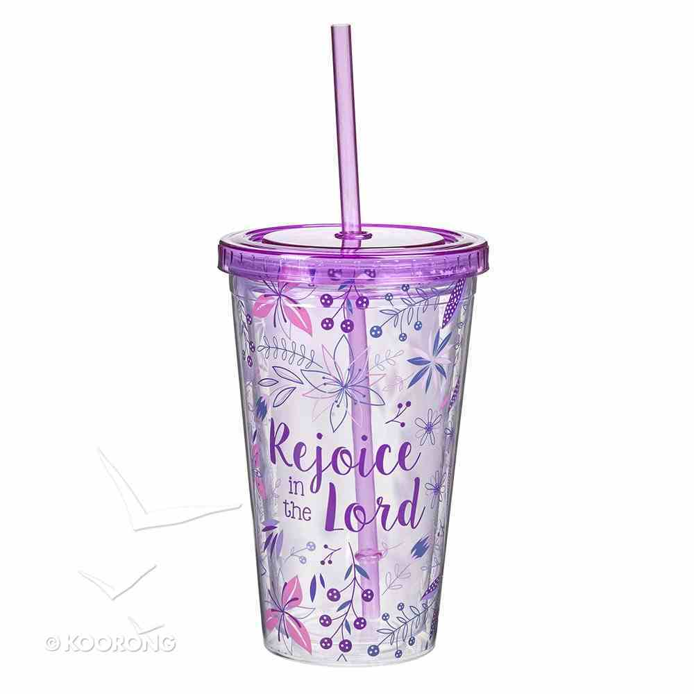 Plastic 480ml Tumbler With Lid: Rejoice in the Lord...Purple Lid Homeware