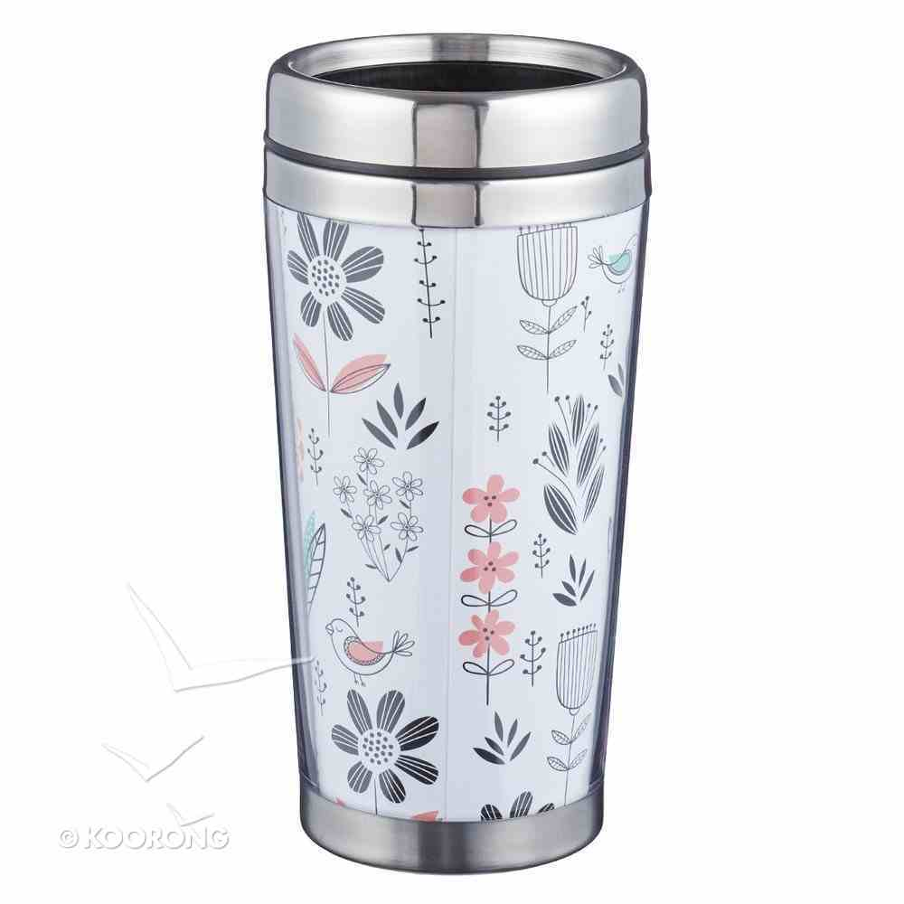Polymer Mug With Design Insert: Teach, Inspire, Motivate, With Stainless Steel Lid Homeware