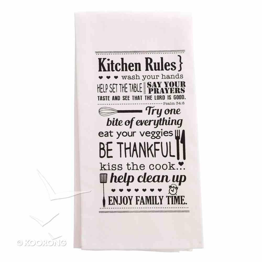 Tea Towel: Kitchen Rules, White/Black (Noun Mugs And Towels Series) Homeware