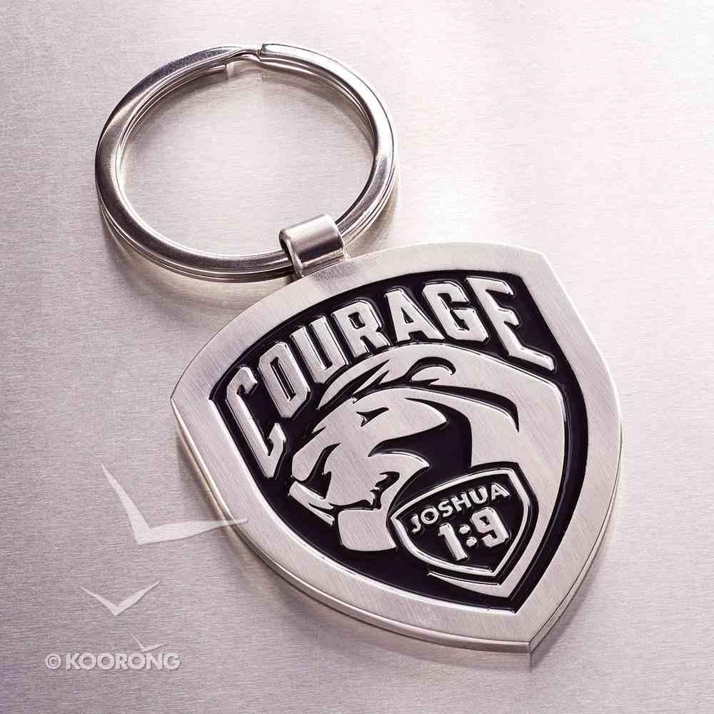 Metal Keyring: Courage, Black - Joshua 1:9 Jewellery