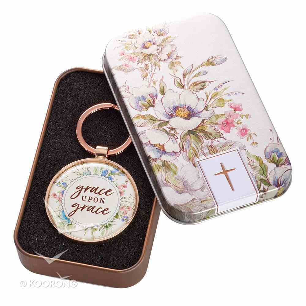 Metal Keyring in Tin: Grace Upon Grace, Floral/Copper Novelty