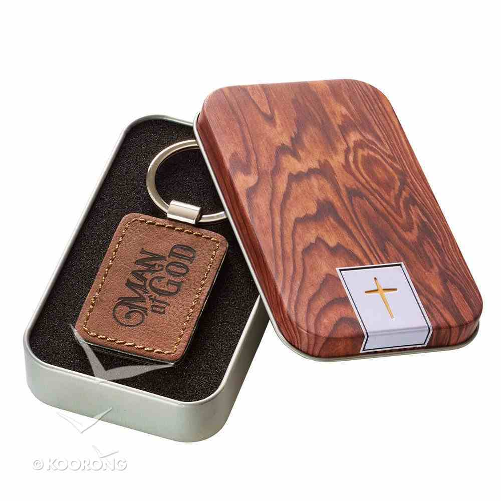 Keyring in Tin: Man of God, Faux Leather, Wood Grain Design Novelty