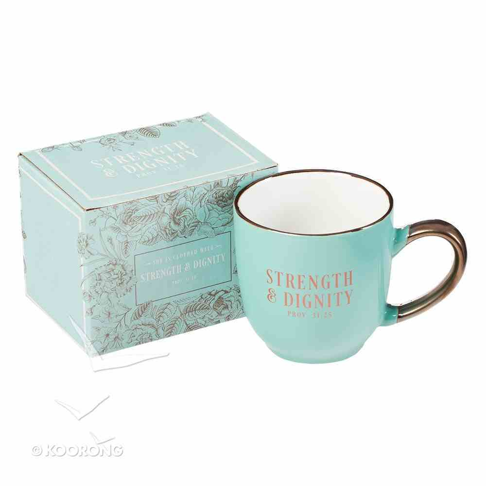 Ceramic Mug: Strength & Dignity, Pale Blue/Rose Gold Etching (330ml) Homeware