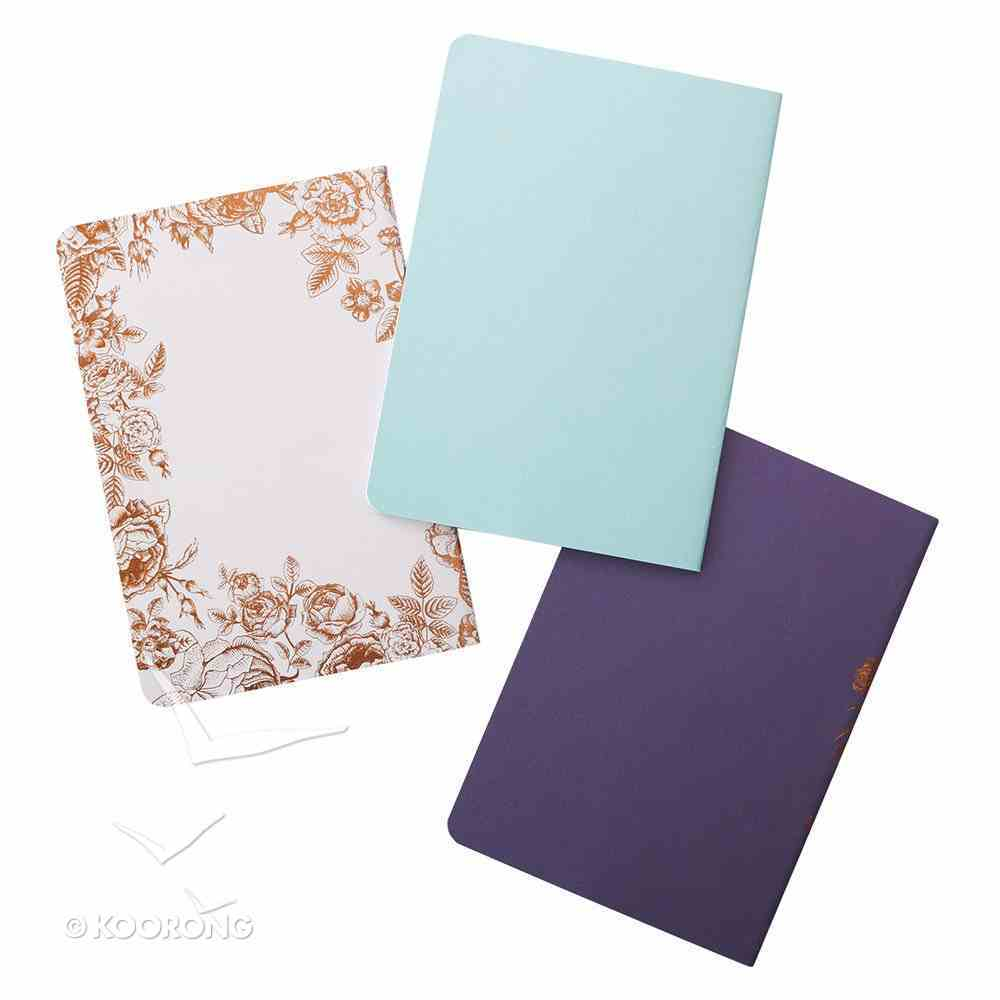 Notebook: Strength & Dignity, White/Pale Blue/Navy (Set Of 3) Paperback