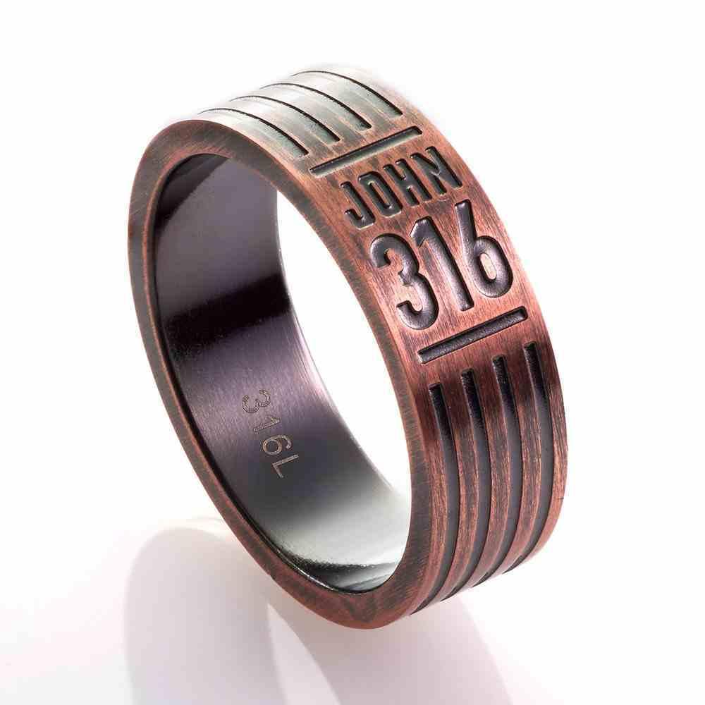 Mens Ring: Size 12, John 3:16, Copper Jewellery