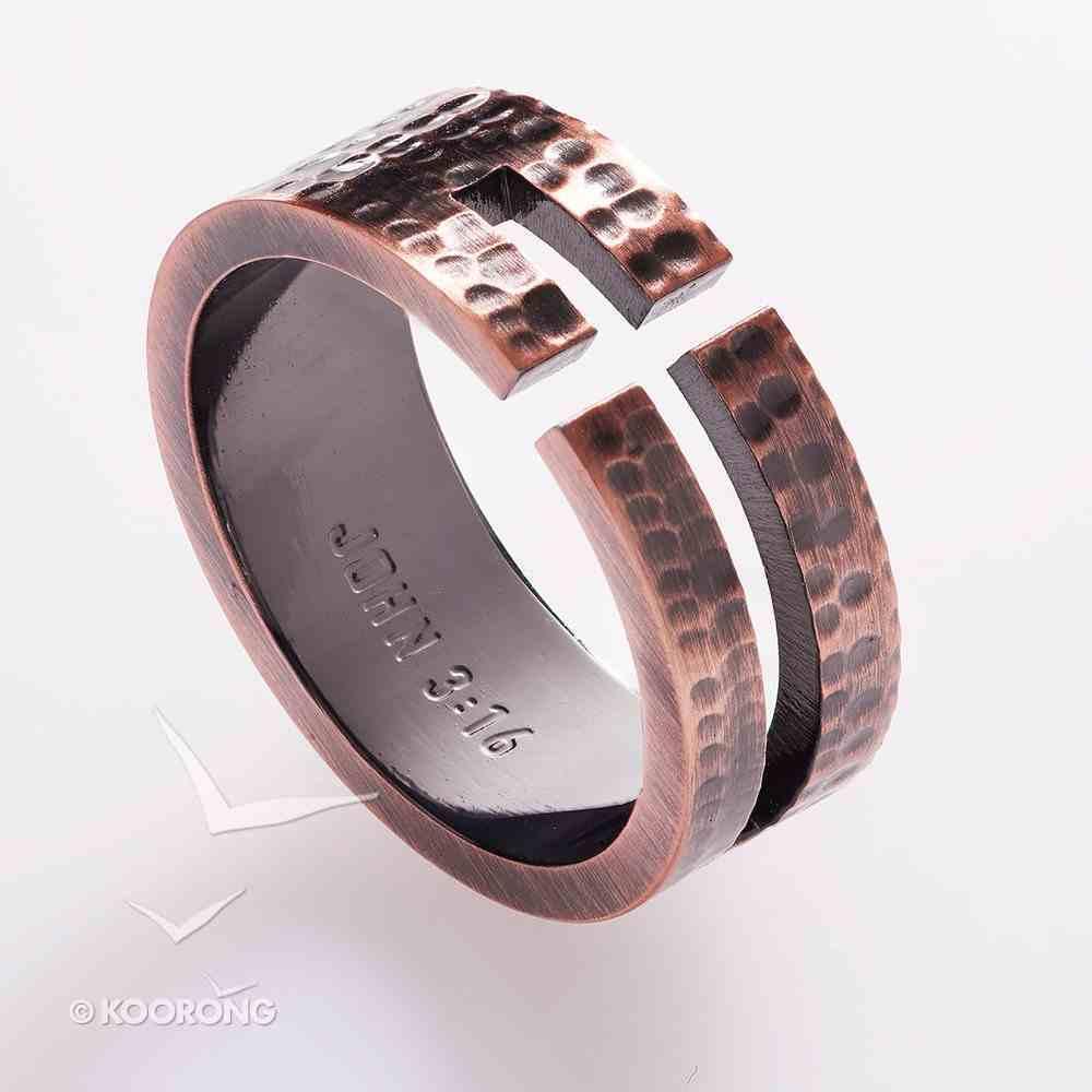 Mens Ring: Size 9, John 3:16 Cutout Cross, Copper Jewellery