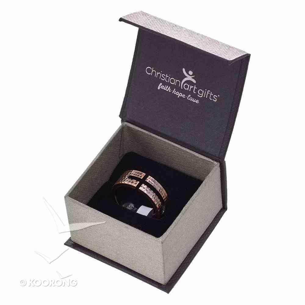 Mens Ring: Size 10, John 3:16 Cutout Cross, Copper Jewellery
