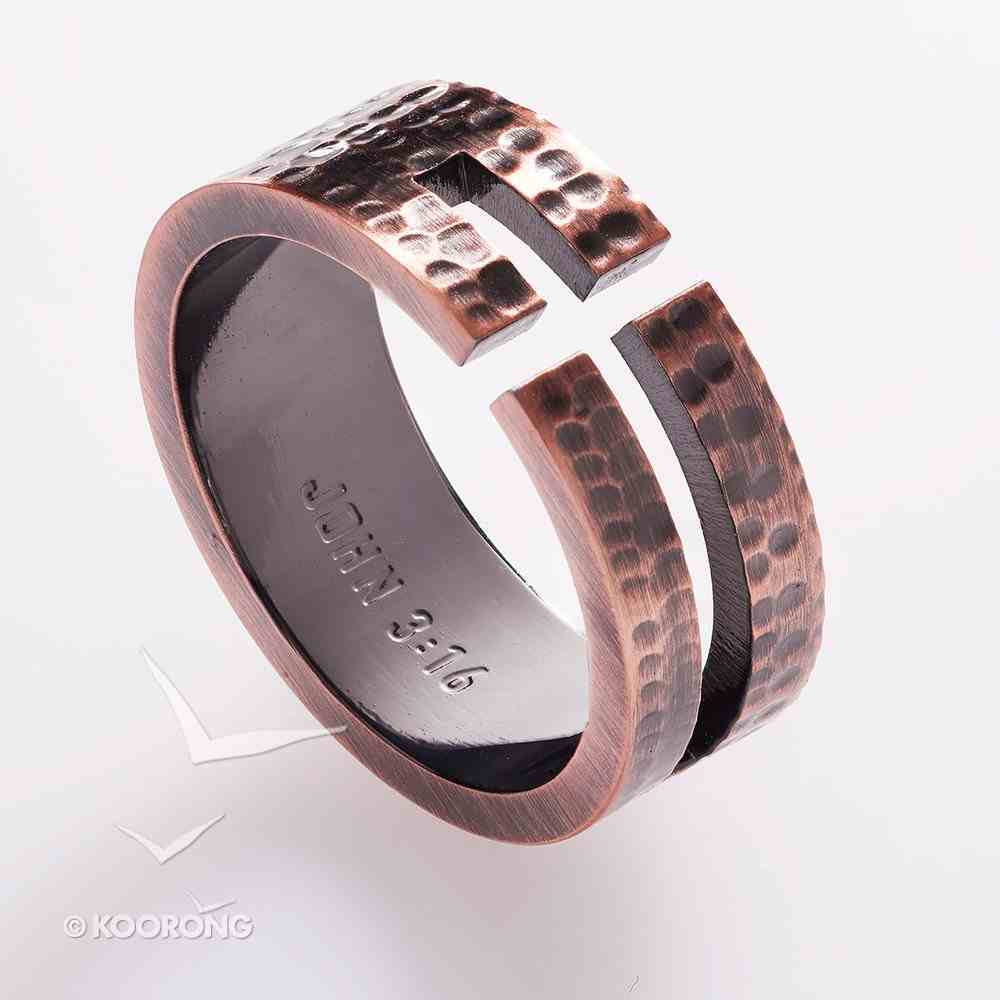 Mens Ring: Size 11, John 3:16 Cutout Cross, Copper Jewellery