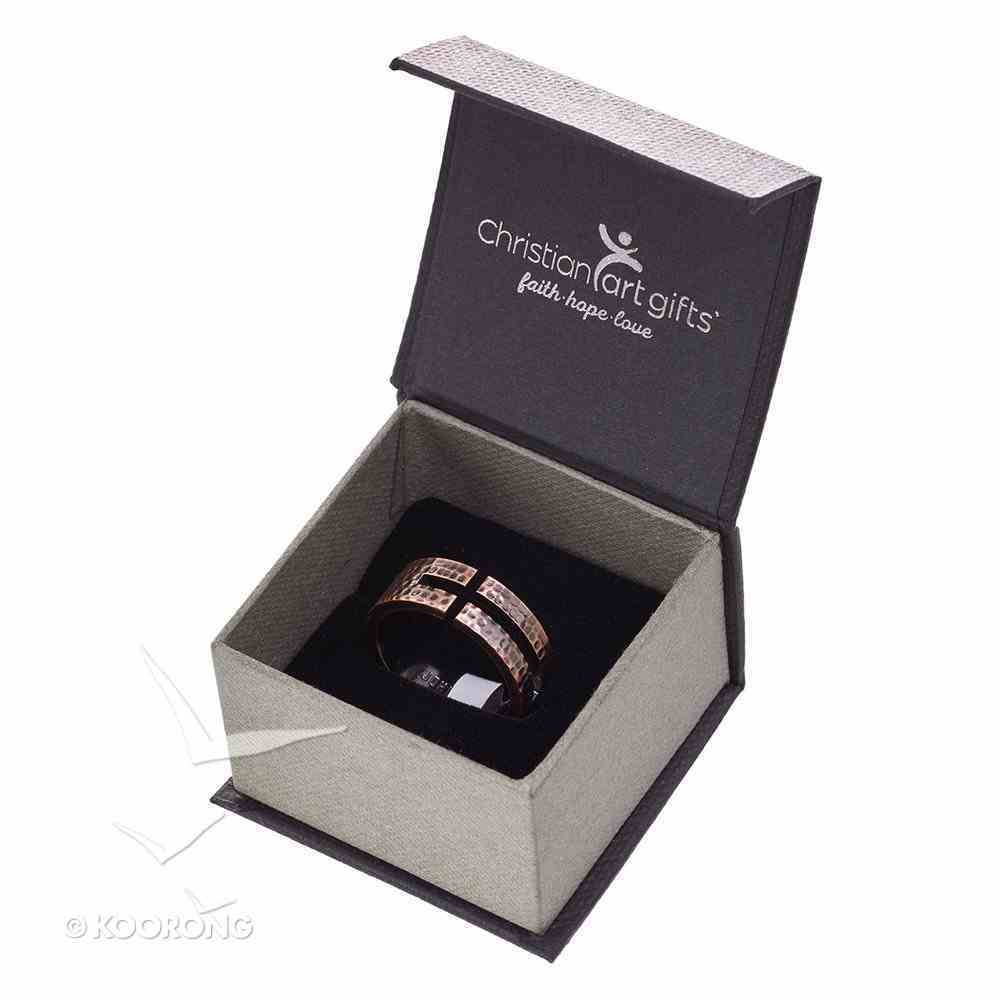 Mens Ring: Size 12, John 3:16 Cutout Cross, Copper Jewellery